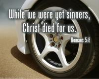 View the image: Car wheel, Romans 5:8