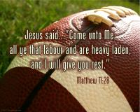View the image: football, Matthew 11:28
